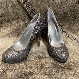 Silver sparkly 5-inch heels